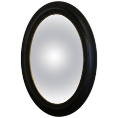 Regency Style Ebonised Convex Oval Wall Mirror
