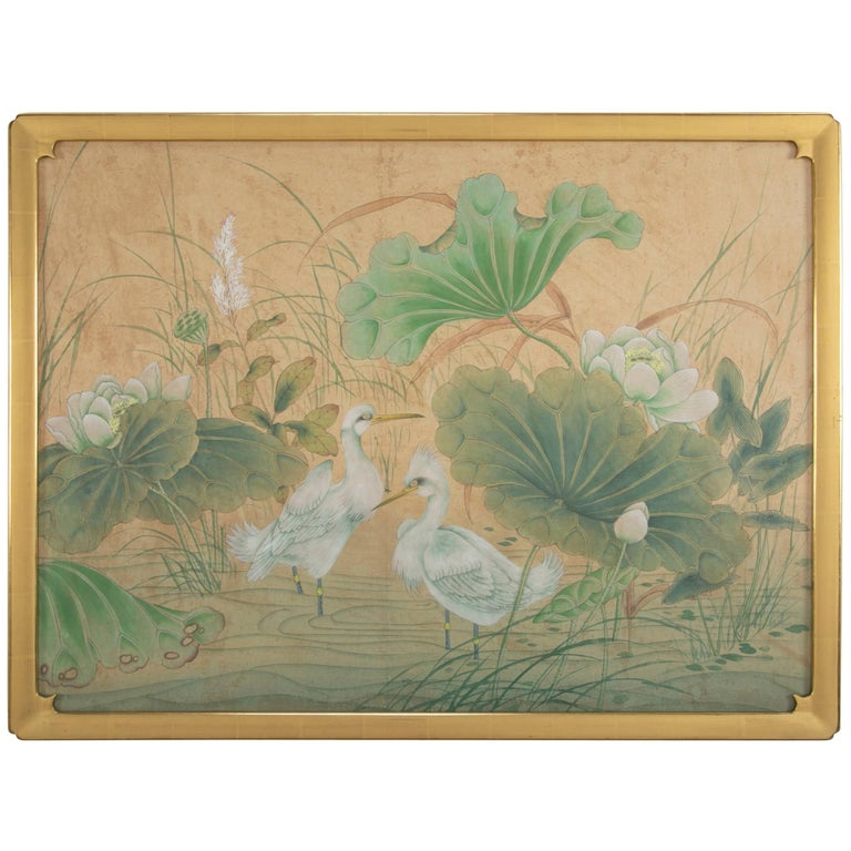 Chinese Painting of Egrets and Lotus Flowers, Large-Scale