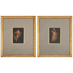 Pair of Italian Grand Tour Paintings of Maenads, after Pompeii, Signed