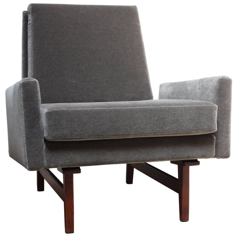 Early Jens Risom Walnut and Mohair Lounge Chair
