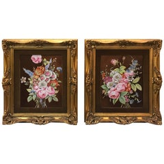 Pair of French Porcelain Hand-Painted Framed Plaques