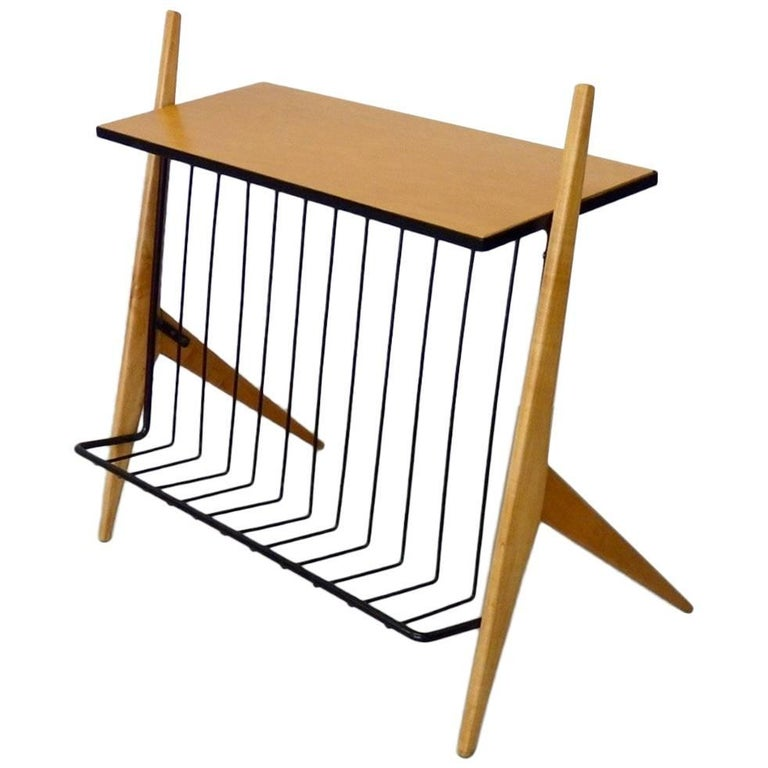 Arthur Umanoff Wrought Iron Blonde Wood Magazine Stand Side Table For Sale