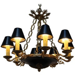 French Eight-Arm Empire Style Bronze Chandelier