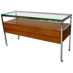 Custom Florence Knoll Attributed Glass Top Teak Display Credenza