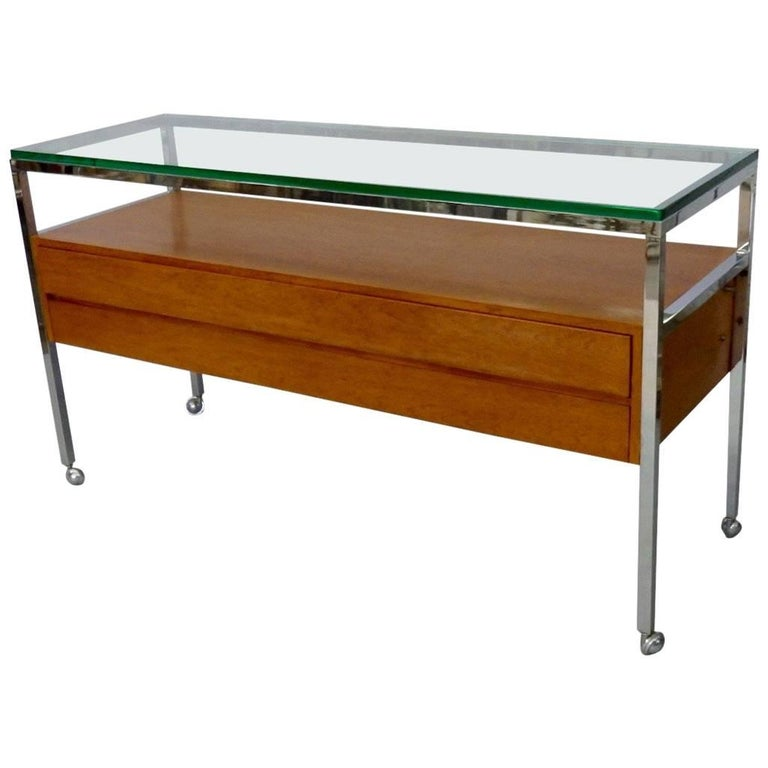 Custom Florence Knoll Attributed Glass Top Teak Display Credenza For Sale