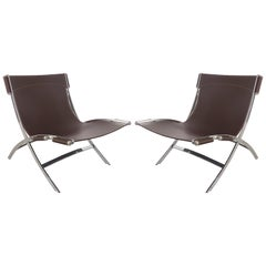 Paul Tuttle for Flexform Italia Scissor Chairs in Stainless Steel and Leather