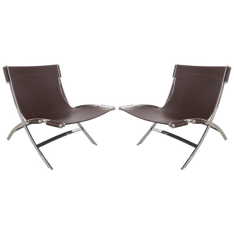 Antonio Citterio Flexform Italia Stainless/ Leather Scissor Chairs