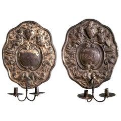 Dutch Baroque Double-Arm Sconces, Silver-Plated, Origin, Holland, circa 1760