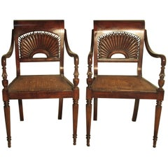 Pair of British Colonial Style Armchairs