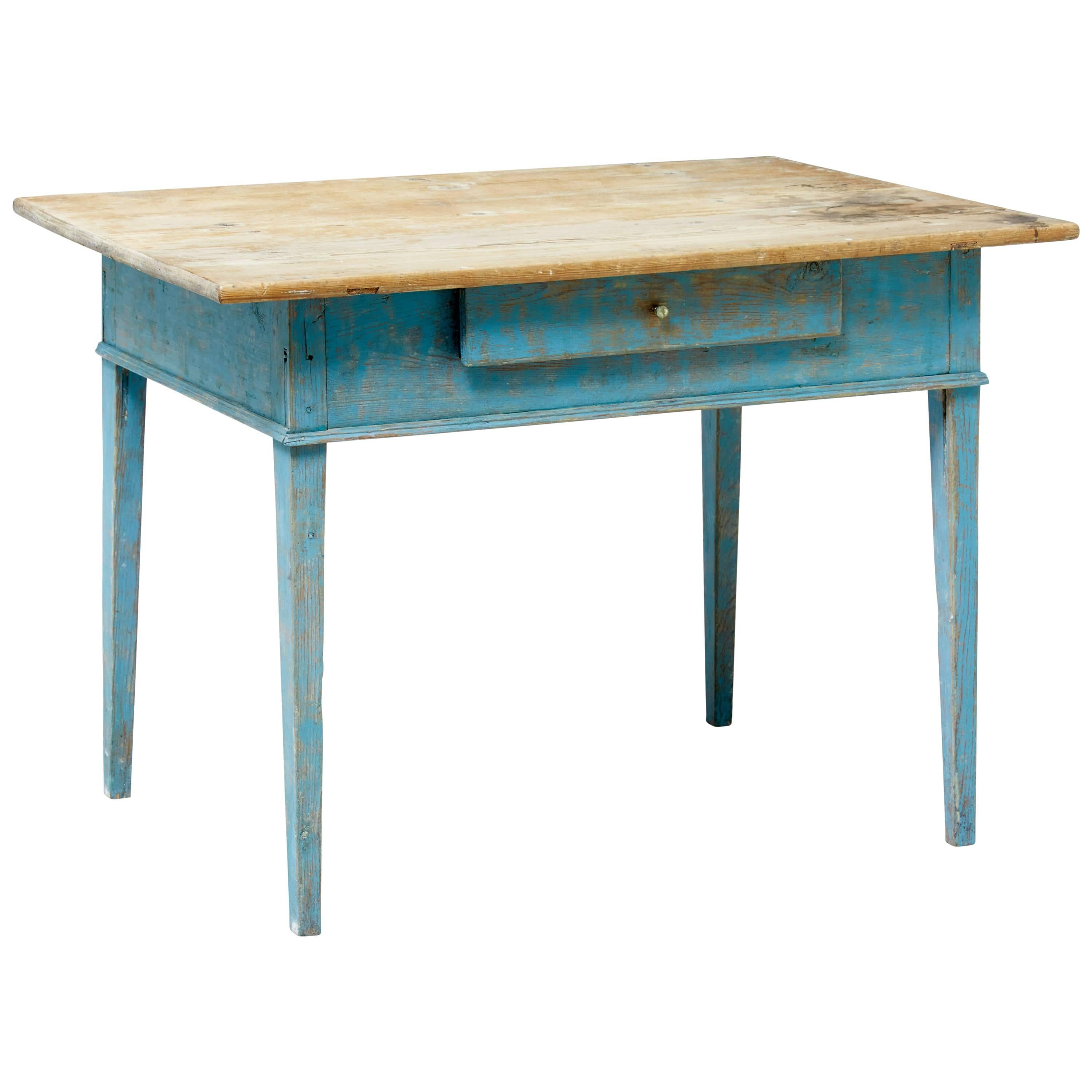 19th Century Rustic Swedish Walnut and Painted Kitchen Table For ...