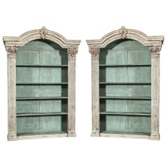 Pair of Louis XIV French Carved Painted Open Bookcases Made with Old Elements