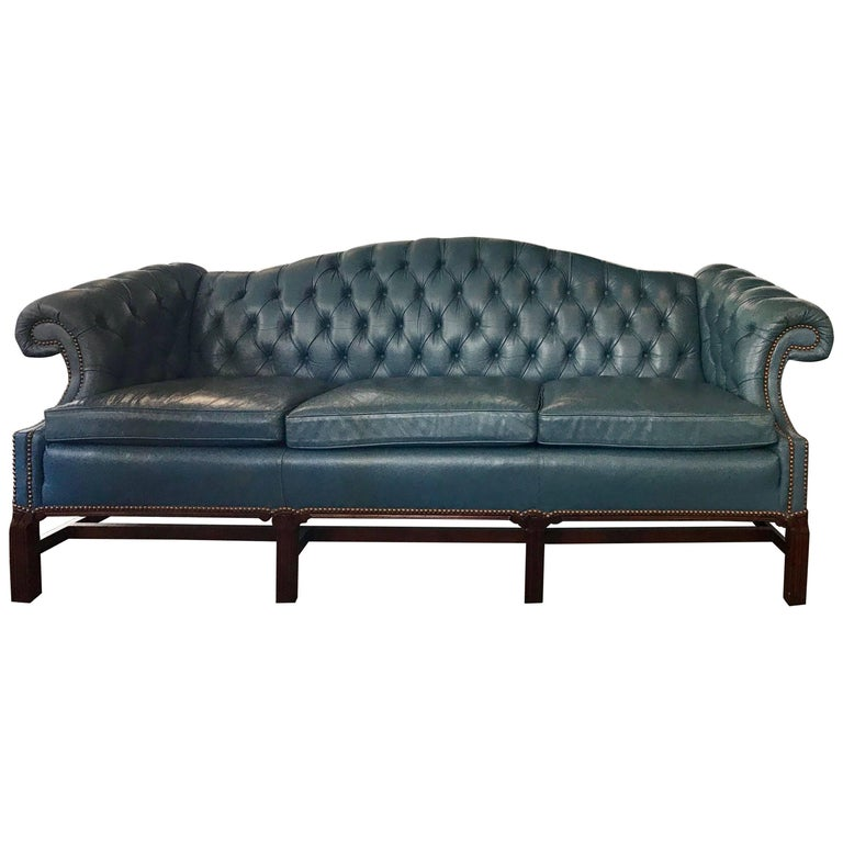 French Blue Leather Chesterfield Library Sofa