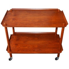Rare Danish Modern Teak Two-Tier Bar Cart with Flared Edges by Poul Hundevad