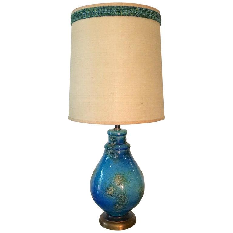 Blue Ceramic Lamp For Sale