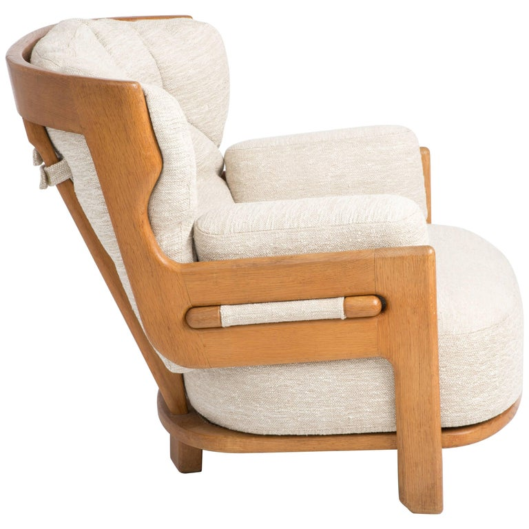 Single Lounge Chair in Oak by Guillerme et Chambron, France, 1960s