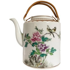 Overscale Japanese Teapot with Birds and Peonies