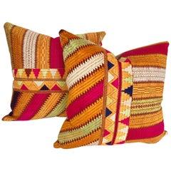 Custom Pillows Cut from a Vintage Silk Embroidered Phulkari, Punjab, India