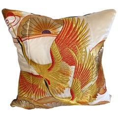 Custom Pillow Cut from a Vintage Silk Embroidered Japanese Uchikake Kimono