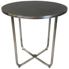 Gilbert Rohde for Troy Sunshade Art Deco Tubular Chrome Café Dining Table