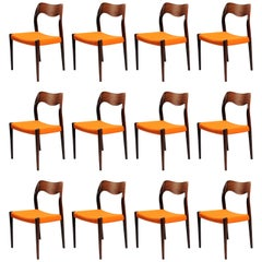 1960s Niels Otto Moller Set of 12 Model 71 Dining Chairs in Rosewood