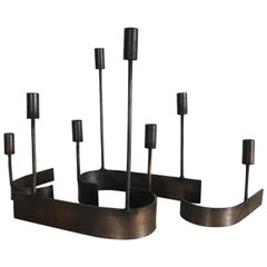 Four-Piece Modernist Copper Candelabrum by Chet Spacher