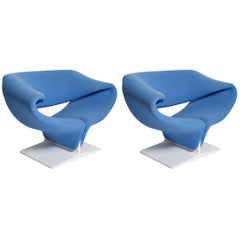 Vintage Pair of Ribbon Chairs by Pierre Paulin, Model F582 for Artifort