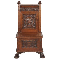 Hand-Carved Oak Hall Seat, circa 1890-1900