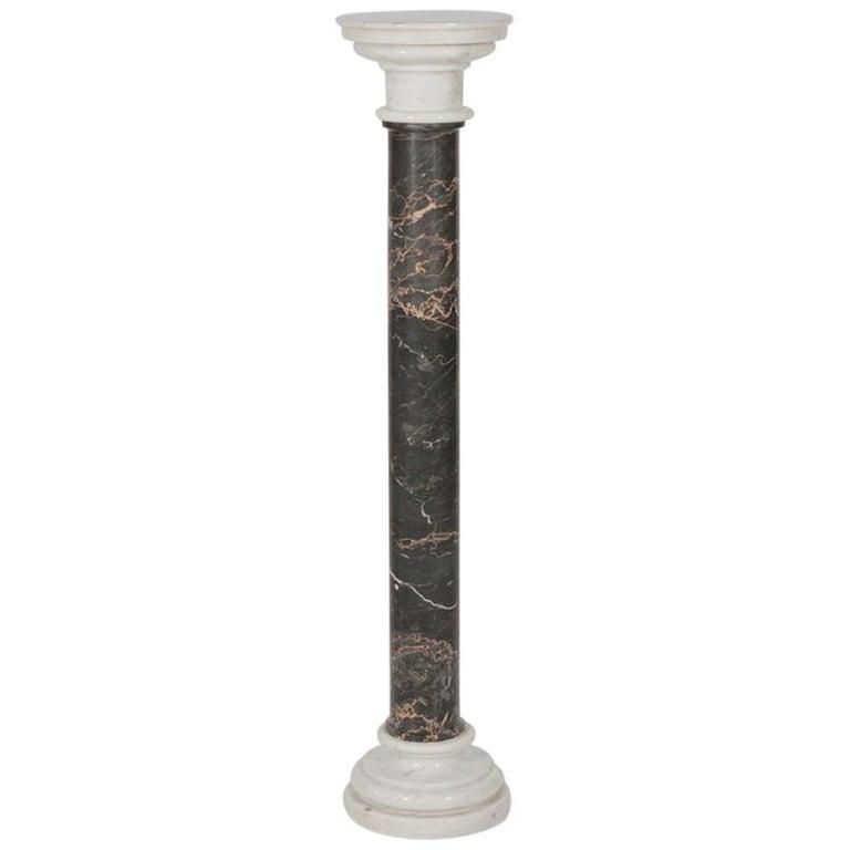 Italian Black and White Marble Pedestal