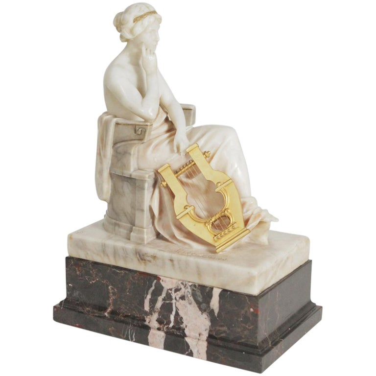 Neoclassical German Marble and Ormolu Sculpture of a Seated Muse with Harp For Sale