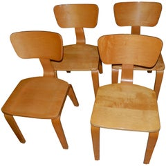 Thonet Rock Maple Dining Chairs with Bentwood Backs, Set of Four
