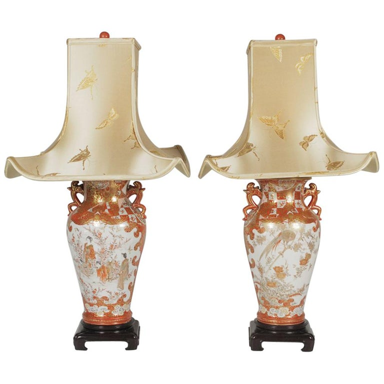 Pair of Meiji Period Kutani Vases, Now as Lamps
