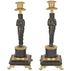 19th Century Pair of Bronze Egyptian Motif Candlesticks