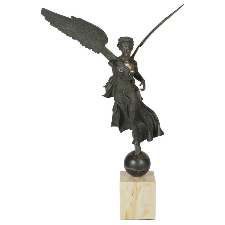 Italian Grand Tour Bronze Figure of Nike, or Winged Victory, 19th Century