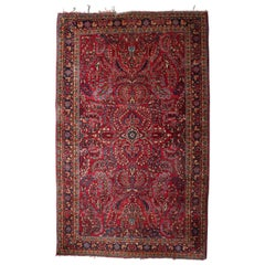 Persian Hand-Knotted Wool Sarouk Floral and Foliate Oriental Rug, circa 1930