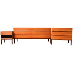 Danish Modern Teak Six and Three-Drawer Dresser and One Drawer Bedside Table