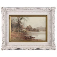 Antique English Watercolor Landscape Painting Signed Creswick Boydell