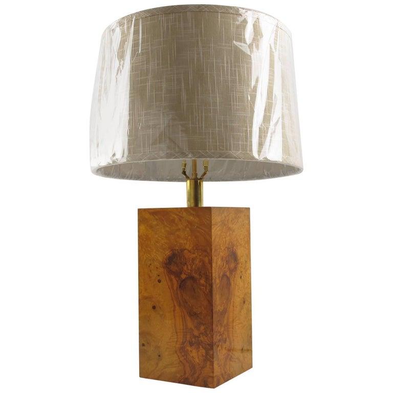 Milo Baughman Style Modernist Burled Maple Wood Table Lamp