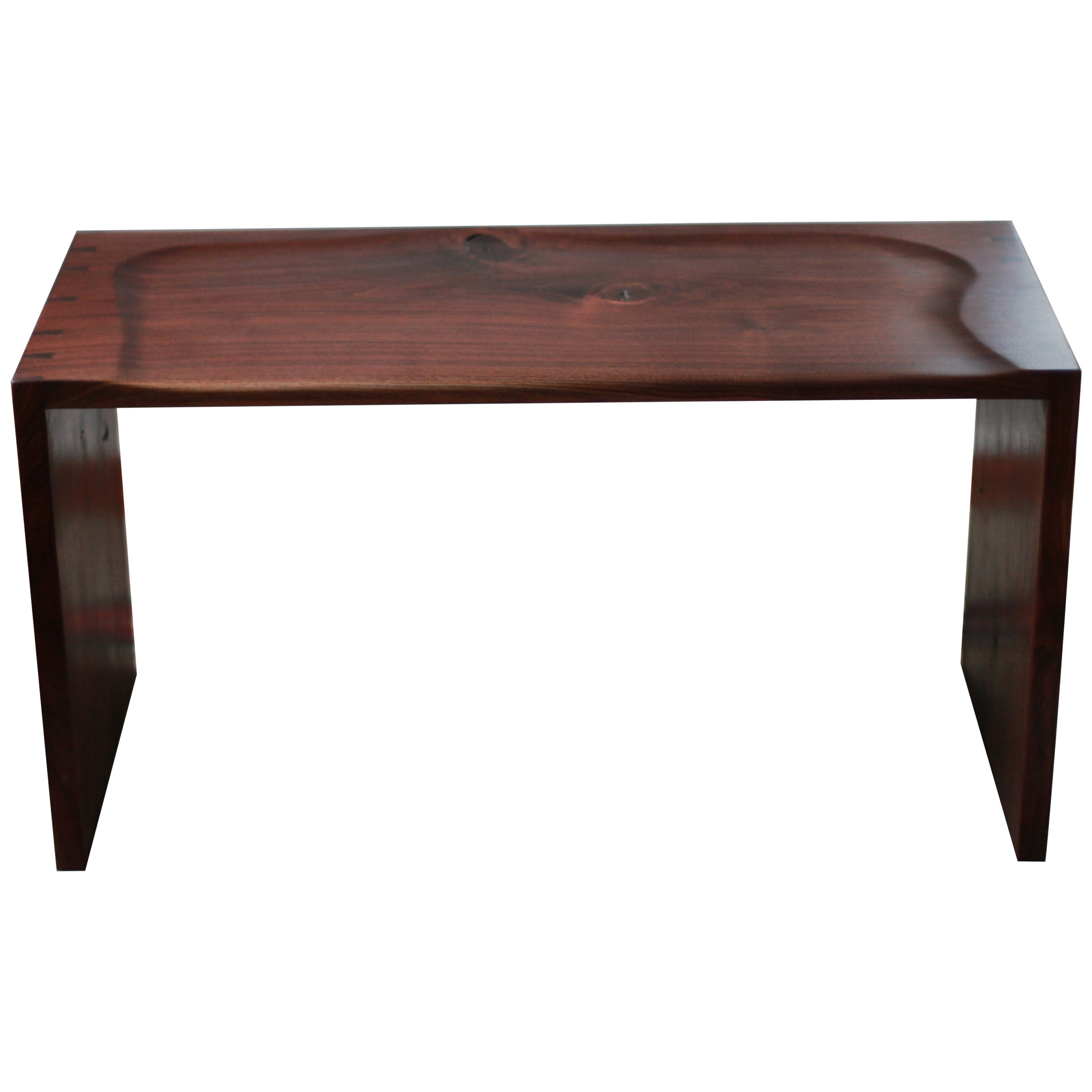 Modern Sculpted Walnut Bench with Dovetail Joinery