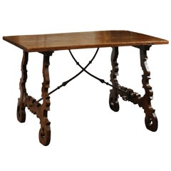 18th Century Spanish Walnut Table with Lyre Legs