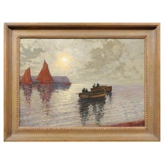 "French Oil on Canvas Post-Impressionist Painting of ""Moonlight Rowers"""