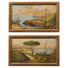 Pair of Framed Oil on Canvas Landscape Paintings, 20th Century