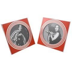 Italian Designer MB Modernist Silver & Red Enameled Aluminum Picture Photo Frame