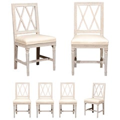Set of Six Swedish Neoclassical Style 1870s Dining Side Chairs with Upholstery