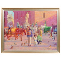 Piazza Senorina, Don Hatfield Oil on Canvas Painting Depicting Florence, Italy