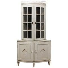 Swedish 1850s Gustavian Style Corner Cabinet with Glass Doors and Diamond Motifs