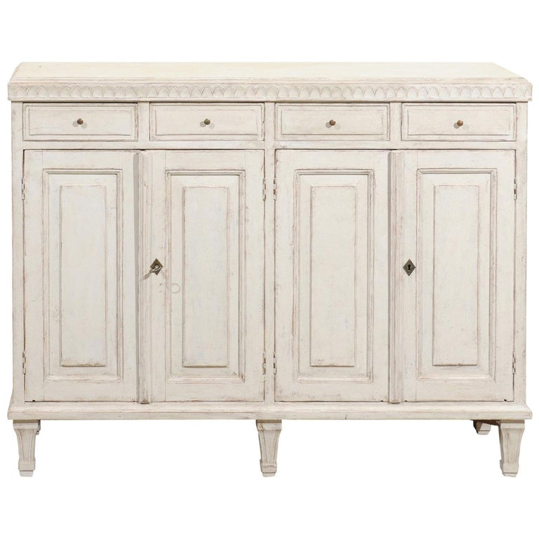 Swedish Gustavian Style 1880s Stockholm Painted Buffet with Drawers and Doors