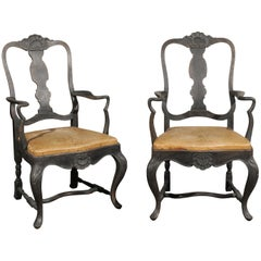 Pair of Swedish Rococo Style 1890s Painted Armchairs with Brown Leather Seats