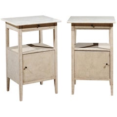 Pair of Swedish 1915 Beside Tables with Marble Top, Drawer, Shelf and Door