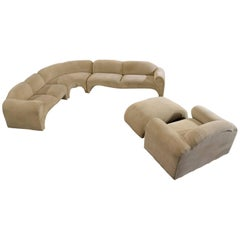 Baughman Style Hollywood Regency Modern Sectional Sofa Lounge Chair and Ottoman