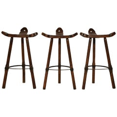 Set of Three Brutalist Spanish Bar-Stools, 1970s